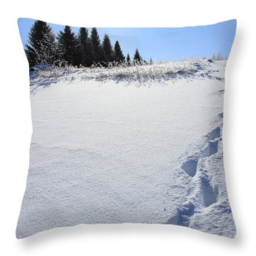 Footprints In The Snow Throw Pillow by Penny Meyers