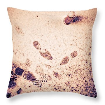Footprints In The Snow Throw Pillow by Silvia Ganora