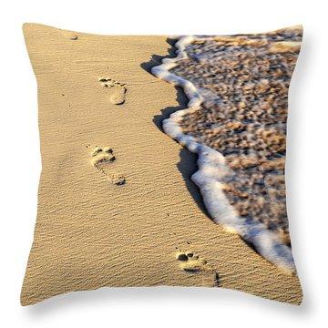 Footprints On Beach Throw Pillow