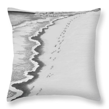 Throw Pillow featuring the digital art Footprints On Boca Beach by Carol Jacobs