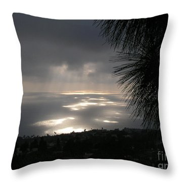 Footprints On The Ocean Throw Pillow by Bev Conover