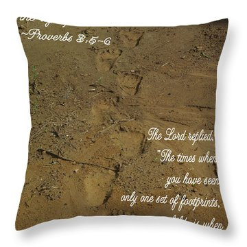 Footprints Proverbs Throw Pillow by Robyn Stacey
