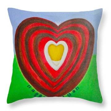 Throw Pillow featuring the painting Footsteps And Friendship And The Golden Heart by Lorna Maza