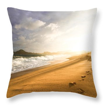 Footsteps In The Sand Throw Pillow by Eti Reid