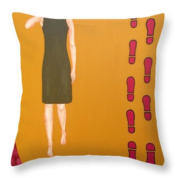 Footsteps In The Sand Throw Pillow by Patrick J Murphy