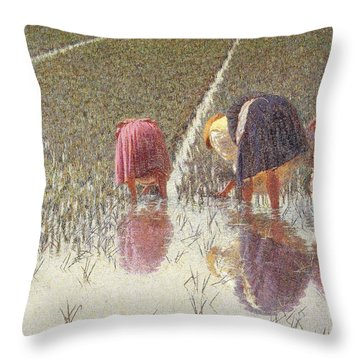 For Eighty Pennies Throw Pillow by Angelo Morbelli