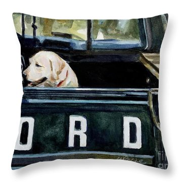 For Our Retriever Dogs Throw Pillow by Molly Poole