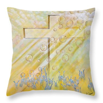 Throw Pillow featuring the painting For The Cross by Cassie Sears
