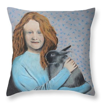 Throw Pillow featuring the painting For The Love Of Bunny by Jeanne Fischer