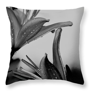 For The Love Of Lillies Bw Throw Pillow
