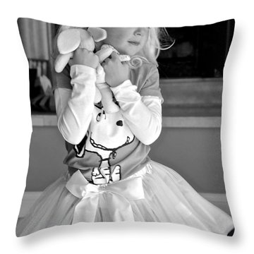 For The Love Of Snoopy Throw Pillow by Suzanne Oesterling