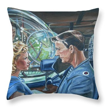 Throw Pillow featuring the painting Forbidden Planet by Bryan Bustard