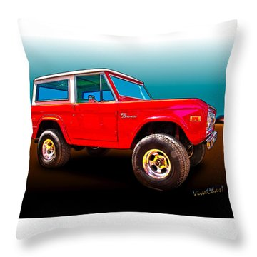 Ford Bronco Classic From Vivachas Hot Rod Art Throw Pillow