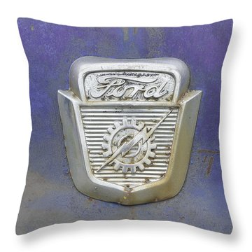 Ford Emblem Throw Pillow by Laurie Perry