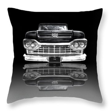Ford F100 Truck Reflection On Black Throw Pillow