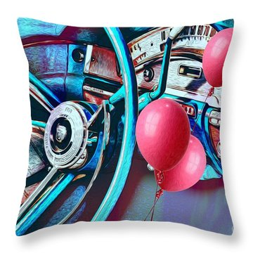 Ford Fairlane 500 Dashboard- Warhol-esque Throw Pillow by Liane Wright