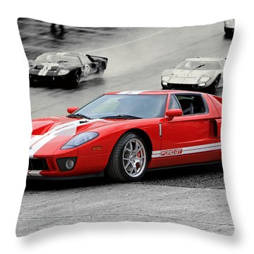 Ford Gt And Gt40 1966 Le Mans Win Throw Pillow