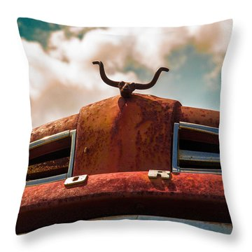 Ford Hood Ornament Throw Pillow by Bartz Johnson
