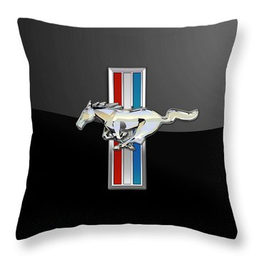Ford Mustang - Tri Bar And Pony 3 D Badge On Black Throw Pillow by Serge Averbukh
