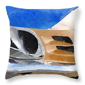 Ford Mustang Front Detail Watercolor Throw Pillow