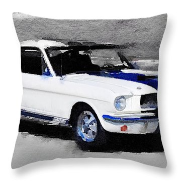 Ford Mustang Shelby Watercolor Throw Pillow
