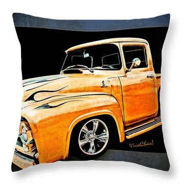 Ford Pickup In Flaming Gold Throw Pillow