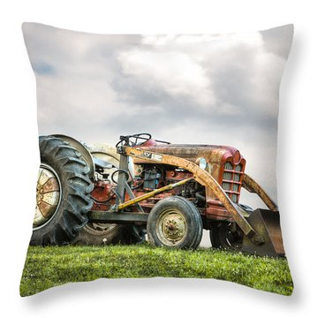 Ford Powermaster Tractor On A Hill Throw Pillow by Gary Heller