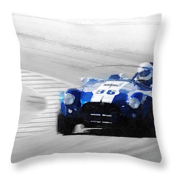Ford Shelby Cobra Laguna Seca Watercolor Throw Pillow