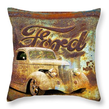 Ford Coupe Rust Throw Pillow