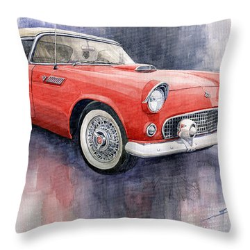 Ford Thunderbird 1955 Red Throw Pillow