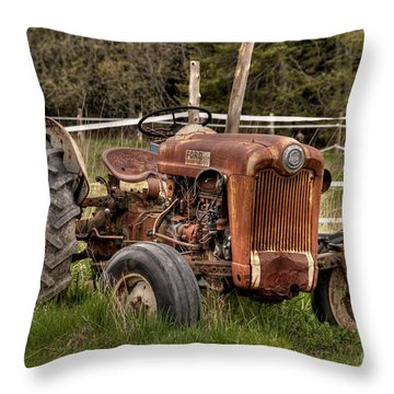Ford Tractor Throw Pillow by Alana Ranney