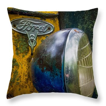 Ford V8 Emblem Throw Pillow by Paul Freidlund