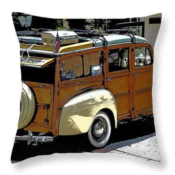 Ford Woodie Throw Pillow
