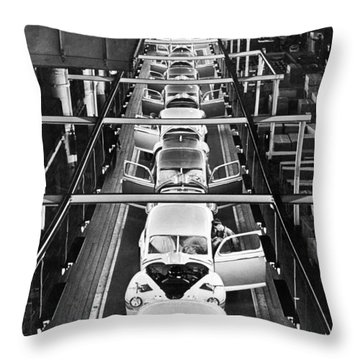 Ford's Mercury Assembly Line Throw Pillow