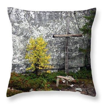 Throw Pillow featuring the photograph Forest Altar by Leena Pekkalainen