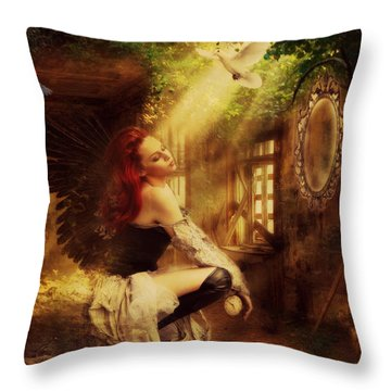 Forest Angel  Throw Pillow by Riana Van Staden