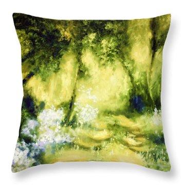 Forest Bluebells Throw Pillow