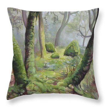 Forest Throw Pillow by Elena Oleniuc