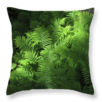 Forest Ferns Throw Pillow