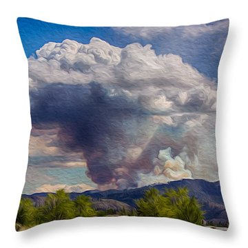 Forest Fire South Of Twisp Throw Pillow by Omaste Witkowski