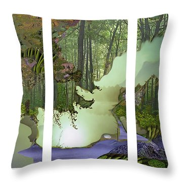 Throw Pillow featuring the digital art Forest Fog by Ursula Freer