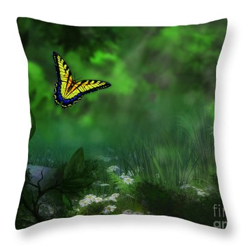 Forest Glade Butterfly Background Throw Pillow