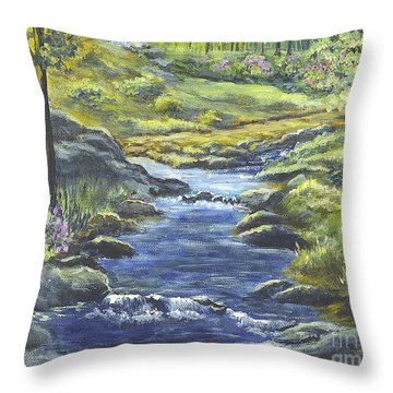Throw Pillow featuring the painting Forest Glen Brook by Carol Wisniewski