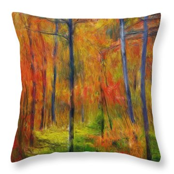 Throw Pillow featuring the painting Forest In The Fall by Bruce Nutting