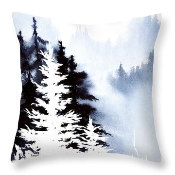 Forest Indigo Throw Pillow