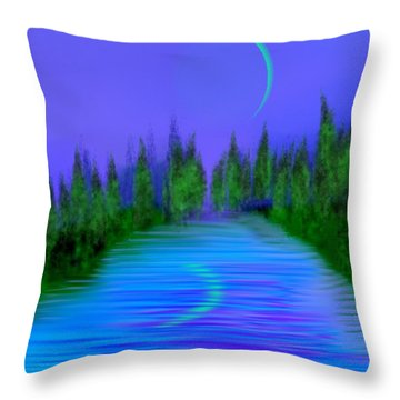 Forest Lake. Night. Throw Pillow