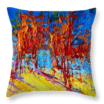 Throw Pillow featuring the painting Tree Forest 1 Modern Impressionist Landscape Painting Palette Knife Work by Patricia Awapara