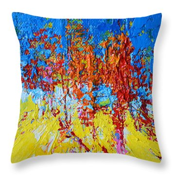 Throw Pillow featuring the painting Tree Forest 2 Modern Impressionist Landscape Painting Palette Knife Work by Patricia Awapara