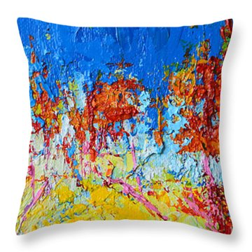 Throw Pillow featuring the painting Tree Forest 3 Modern Impressionist Landscape Painting Palette Knife Work by Patricia Awapara