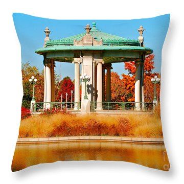 Throw Pillow featuring the photograph Forest Park Gazebo by Peggy Franz
